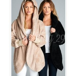 🆕️TAUPE PLUSH TEDDY L/S HOODED JACKET